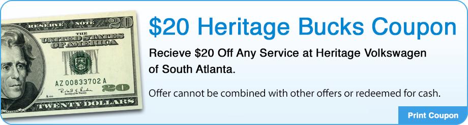 $20.00 Heritage Bucks