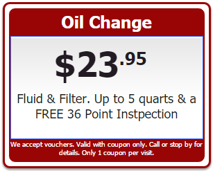 $23.95 Synthetic Blended Oil Change