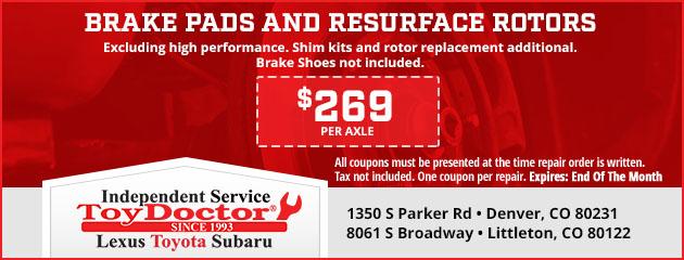 Brake Pads and Resurface Rotors - $269