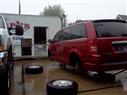 '08 Town & Country 4 wheel brake job, in the rain